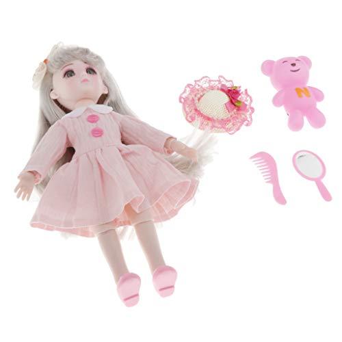 CUTICATE 28cm Muñeca de Niña con Accesorios, Precioso Regalo de Cumpleaños para Niños, Juguetes para Bebés para Niñas - Vestido Rosa