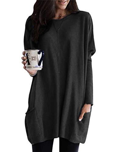 Minetom Herbst Pullover Damen Sweatshirt Oversize Oberteil Lässige Shirt Lange Bluse Langarmshirt Elegant Hemd Shirtkleid mit Zwei Taschen Schwarz 40