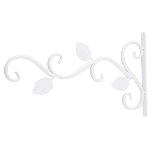 Hemoton, gancio da parete in ferro, appendiabiti, per piante, vintage, da giardino, cesto di fiori, lanterna, casetta per uccelli, gancio per lanterna, supporto per fiori bianco