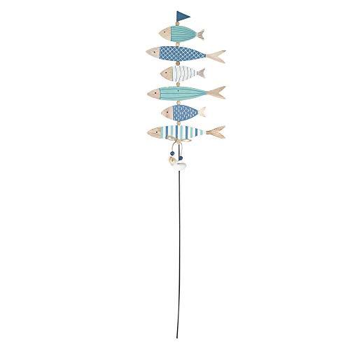 Vidal Regalos Adorno Decorativo Palo con Peces Madera Azul 80 cm