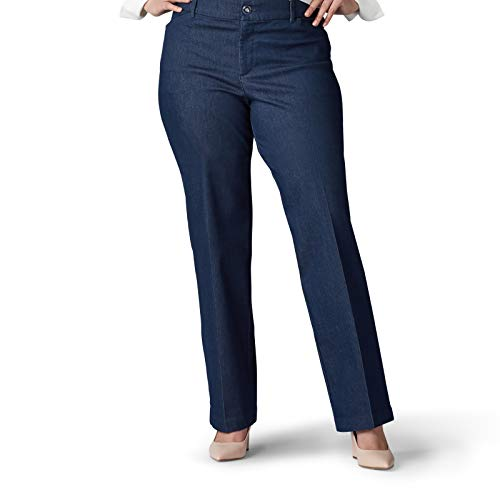 Lee Women's Plus Size Flex Motion Regular Fit Trouser Pant, Indigo Rinse, 20W Medium
