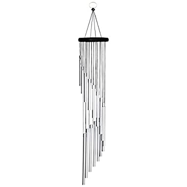 "AUCHEN Amazing Grace Wind Chimes - 35.4"" Premium Large Wind Chimes Outdoor for Patio Garden Balcony and Home Decor (Silver)"