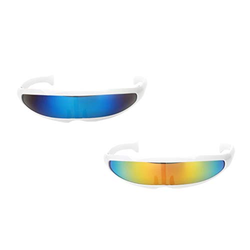 F Fityle 2 teilig Alien Futuristische Sonnenbrille Zyklopen Brille Partybrille