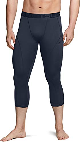 TSLA Herren Thermal 3/4 Compression Hose, athletischer Sport Capri Leggings & Tights, Bottoms Schicht Winter-Basis, Yuc52 1pack - Charcoal, XXL