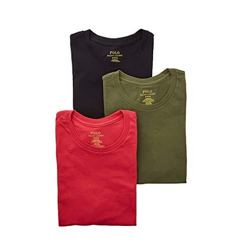 Polo Ralph Lauren Classic Fit Cotton Crew Neck T-Shirts - 3 Pack (RCCNS3) L/Sunrise Red/Sage/Black