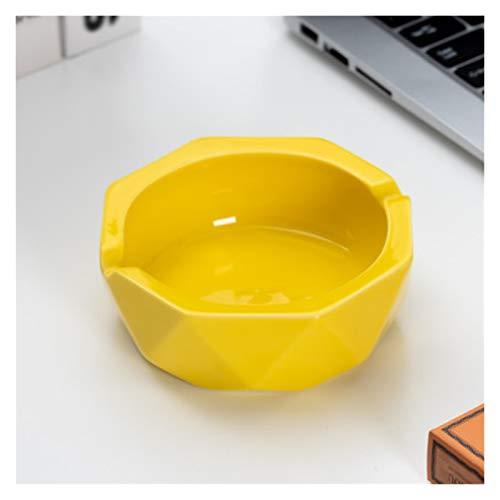 WPBOY Cenicero de cerámica con diseño geométrico de mesa, cenicero portátil para decoración del hogar, oficina, regalo de moda (color: amarillo)