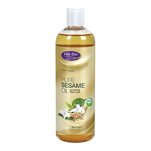 sesame oils Life-Flo Pure Sesame Oil | Organic, Cold Pressed, Food Grade & No Hexane | For Skin, Face, Body & Massage Therapy | 16 fl. Oz.