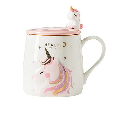 Einhorn-Becher Niedliche keramische Kaffeetasse mit lieblichem Einhornlöffel, Morgen Cup Neuheit Kaffee Tee Milch Weihnachten Becher Geschenk für Mädchen Magische Einhornliebhaber 380ML (BFF)