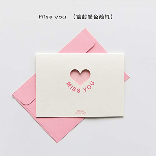 ZHILL Love Card Exquisite Blessing Word Card Greeting Card and Mini Envelope Paper Envelope Greeting Cards with Envelope,E