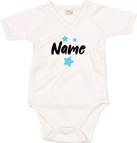 Kleckertegel baby body spreuken wikkelbody jongens meisjes organic kimono korte mouwen met opdruk motief naam naam sterren