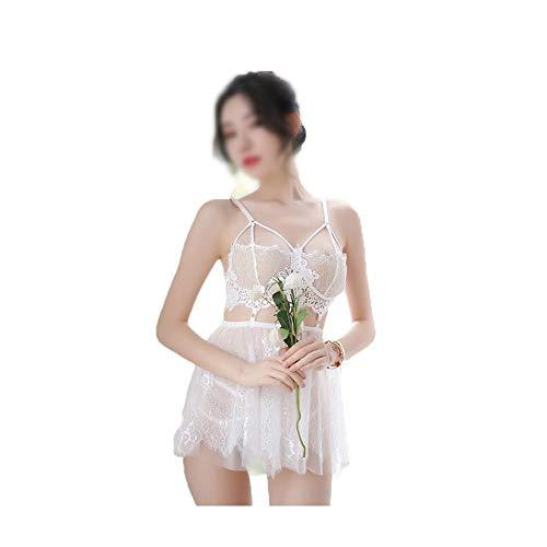 Minicocock Sexy Unterwäsche Frauen Wasserlösliche Schwimm Fee Negligée ähnliche Uniform Versuchung Anzug Netz (Color : White)