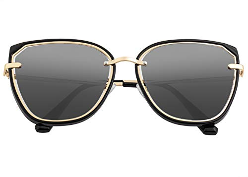 Bertha Rylee Acetate Wayfarer Polarisierte Damen-Sonnenbrille BRSBR041, BRSBR041BK, Schwarz, BRSBR041BK