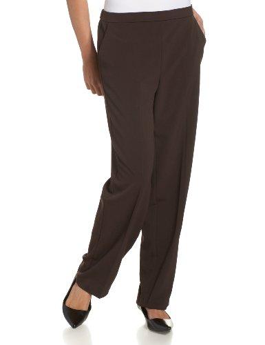 Briggs New York Women's Pull On Dress Pant Average Length & Short Length, Brown, 10