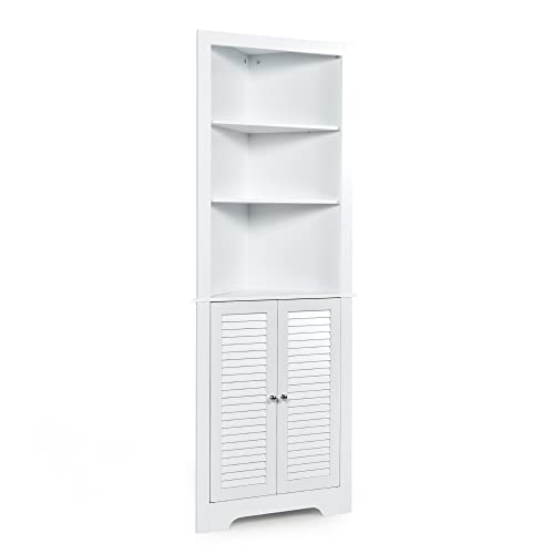 LOKO Corner Storage Cabinet, Corner Hutch Cabinet with Shutter Doors and Adjustable Shelf for Bathroom, Living Room, Dining Room or Kitchen, 23.5 x 11 x 68 inches (White)