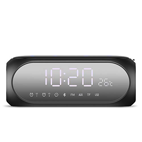 Byx- Bluetooth-Lautsprecher - Intelligente Spracherinnerung Funktelefon im Freien Dual-Lautsprecher-Membran Mini-Audio-Alarmkarte Radio-Karte [Echtzeit-Temperaturanzeige + Spiegel-Doppelwecker + Super