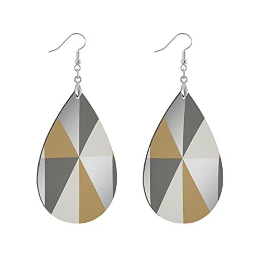 Pendientes de madera de moda gota colgantes ligeros lágrima pendientes forma gota pendiente para las mujeres joyería Horden geométrico triángulo gris plata mostaza
