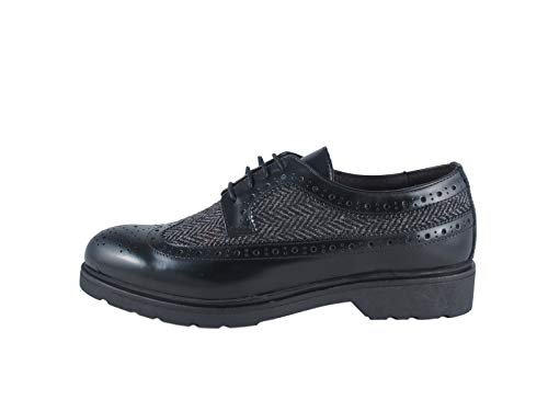 Gaiola - Zapato de mujer, de piel y tejido acanalado, con cordones, fabricado en Italia, color negro Negro Size: 37 EU