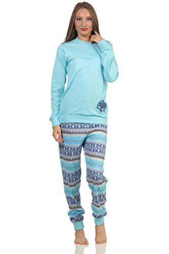 Damen Pyjama Langarm Schlafanzug mit Bündchen im Ethnolook mit niedlichen Tiermotiv Elefant, Farbe:helltürkis, Größe:44-46