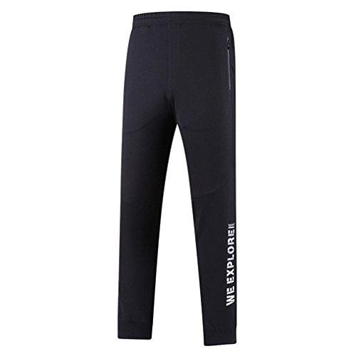 emansmoer Hommes Longue Outdoor Quick Dry Respirant Élastique Stretch Casual Sports Pantalon Slim Fit Fitness Running Trousers Camping Randonnée Pantalon Vêtement de Sport (XXX-Largr, Noir)