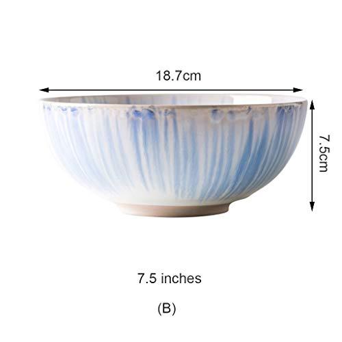 CJW Bol en céramique de couleur peint à la main - bol sous émaillé/bol plat/bol à soupe/bol à salade 7,5-8 pouces (Taille : B)