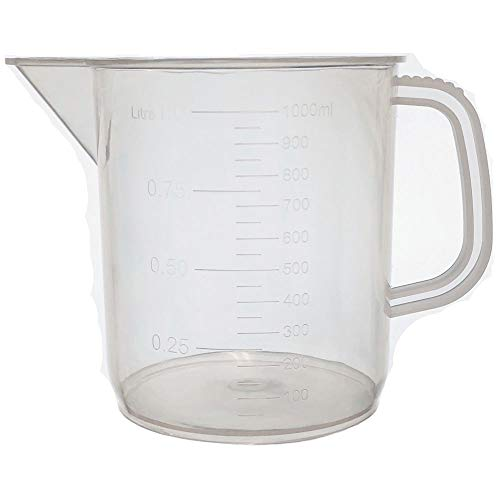 1000ml Pitcher with Handle and Spout, Low Form Beaker, Graduated, Polypropylene, Karter Scientific (Single)