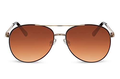 Cheapass Gafas de sol Sunglasses estilo Piloto con marco de Metálicas dorado con efecto marrón alrededor del borde y lentes marrones degradados con protección UV400 para hombre y mujer