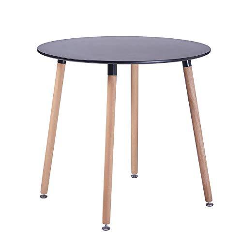 EGGREE Tavolo da Cucina Rotondo Moderno di Design Tavolo da Pranzo in Legno Scandinavo,Gambe in Legno Massello, 80 x 75 cm Nero