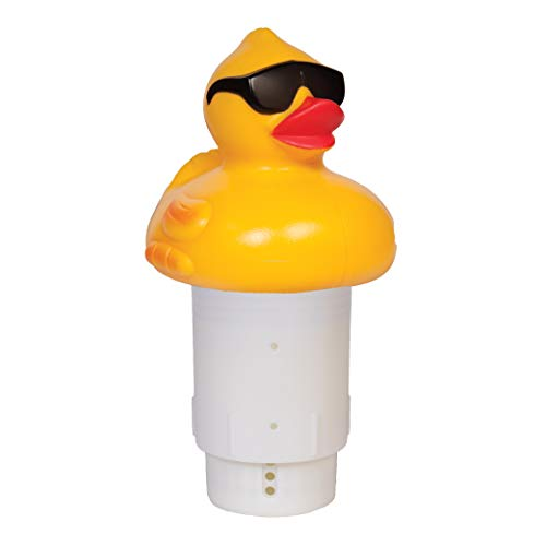 GAME 4002 Derby Duck, 3 Inch Chlorine, Five Tablet Capacity Above-or Inground Pool Use, Adjustable Dispensing Rate