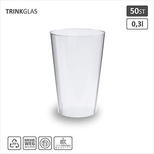 50x Trinkbecher 300ml | transparent bruchsicher | Cocktail Becher aus PP | alt. zu Einweg | Made In Germany | silverkitchen ®