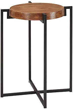 Best Convenience Concepts Nordic round Tray End Table, Walnut / Black