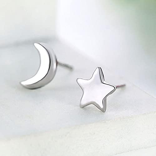 DJMJHG Pendientes de Estrellas y Luna de Plata de Ley 925 para Boda, Pendientes de Tuerca de Moda para Mujer, joyería con dijes