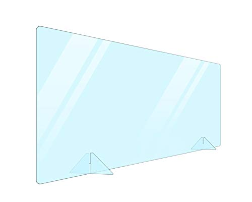 NO Cut-out Portable Plexiglass Sneeze Guard Shield for Counter 48x24