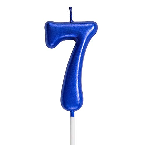 NEWCANDLE Blue Birthday Candles 7 Candle 7th Seven Years Cake Bady Roman Numberal Cool Number Candle No 70 71 72 73 74 75 76 77 78 79