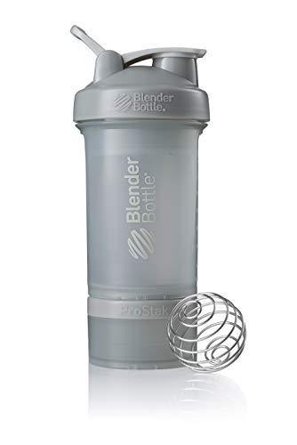 BlenderBottle ProStak Protein Shaker mit BlenderBall mit 2 Container 150 ml und 100 ml, 1 Pillenfach, optimal für Eiweiß, Diät und Fitness Shakes, skaliert bis 450ml, grau (650ml)
