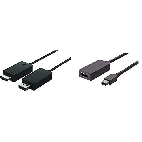 Microsoft Wireless Display Adapter (2. Version, Adapter zur kabellosen Bildschirmübertragung) & Surface HDMI Adapter, schwarz