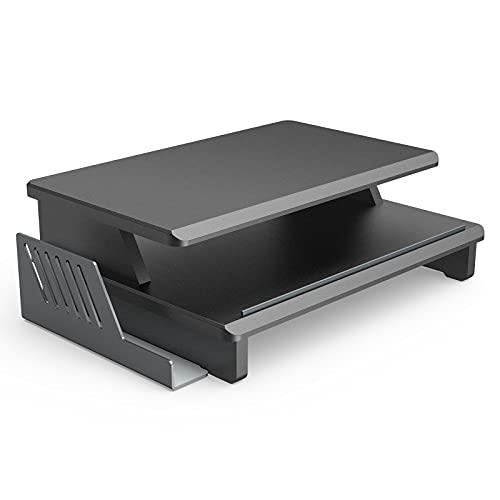 Klearlook 机上台 木製 二段式 大容量 モニター台 高さ15cm 幅43cm 奥行25cm 耐荷重55kg 大型液晶モニターにも適応 PCキーボード収納 モニタースタンド アルミ製収納ラック付き パソコン台 - ブラック