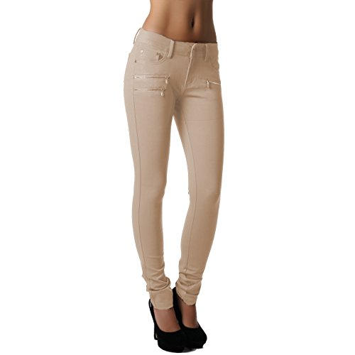 Crazy Age Crazy Age Damenhose Jegging Legging Zipper stylisch H086 (36, Beige)