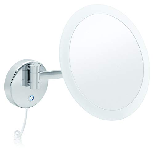 Libaro LED Kosmetikspiegel Savona Vergrößerungsspiegel 5fach Wandmontage Messing rostfrei Silber verchromt weißes Kabel