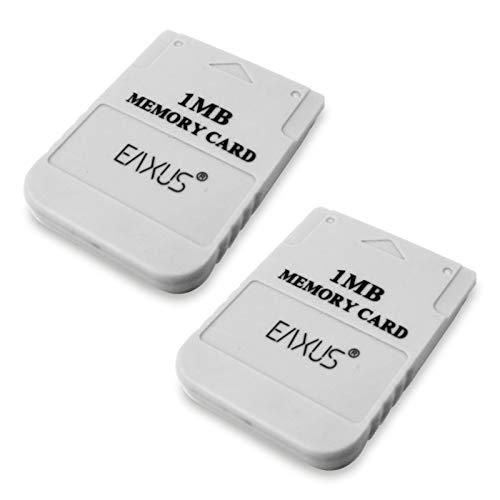 Eaxus®️ 2er Set PS1 PSX PSOne Memory Card Speicherkarte 1 MB Weiß für Playstation 1 auch in Playstation 2 verwendbar