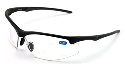 V.W.E. Bifocal High Performance Sport Protective Safety Glasses Bifocal - Clear Lens Reader Reading Glasses - Ansi Z87.1 Certified (Matte Black, 2.50)