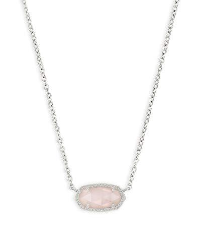 Kendra Scott Elisa Short Pendant Necklace for Women, Dainty Fashion Jewelry, Rhodium-Plated, Rose Quartz