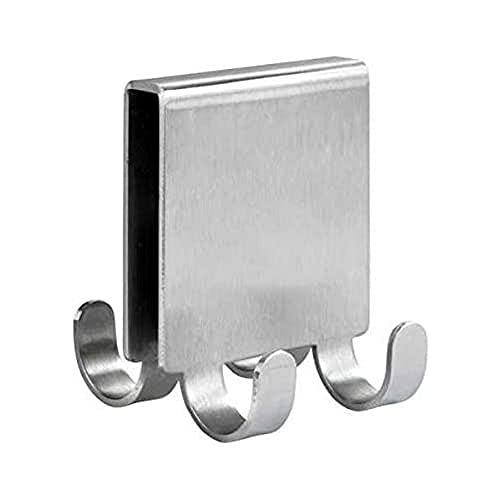 WENKO Doppel-Duschhaken Vieste Duo - Haken für Duschwand mit 4 Aufhänge-Möglichkeiten, Edelstahl rostfrei, 5.5 x 6 x 7 cm, Matt