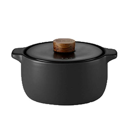 YWYW High Temperature Resistant Casserole With Lid Household Multifunctional Soup Pot 2.8L Black Clay Pot (Style: B)