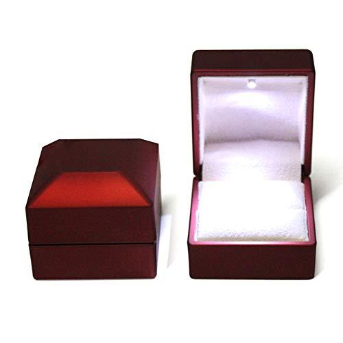 FSQY Propuesta joyería Caja de Bodas Rojo joyería Caja con Anillo Almohada...