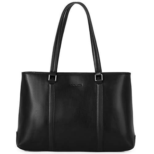 BOSTANTEN Leder Schultertasche Damen Ledertaschen Handtasche 15.6 Zoll Laptoptasche Aktentasche Groß Kapazität Frauen Arbeitstasche Schwarz