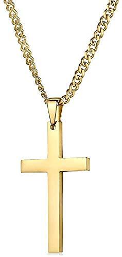 Collar con colgante en forma de cruz de oro de 18 quilates con cierre sólido para hombres, mujeres y adolescentes, fino, para amuletos de Miami Cuban Link corte de diamante, Acero inoxidable y oro, RJ1986