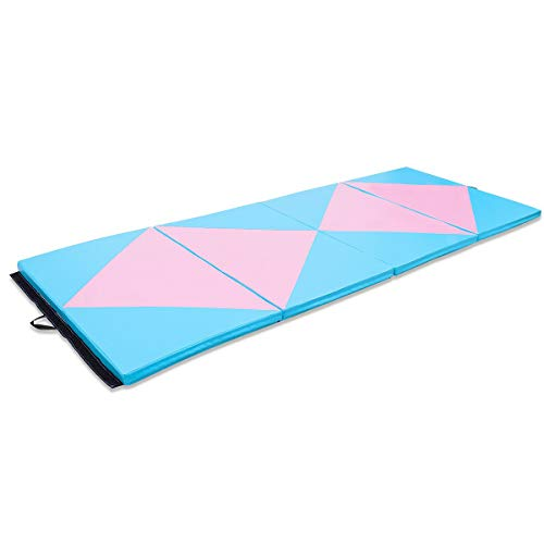Giantex Gymnastics Mat, 4'x10'x2 Extra Thick Anti-Tear Folding Gymnastics Exercise Mat w/Carrying Handles, Hook and Loop Fastener, Panel Mats for Gymnastics, Exercise, Aerobics, MMA, Stretching