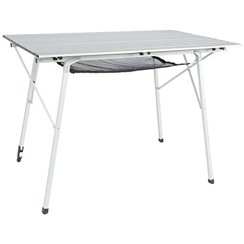 PORTAL Outdoor Folding Portable Picnic Camping Table with One Adjustable Aluminum Leg,Roll Up Table Top with Mesh Layer