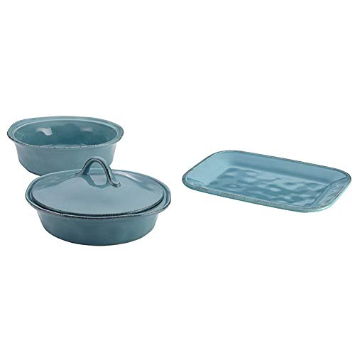 Rachael Ray Cucina Casserole Dish Set with Lid, 3 Piece,...
