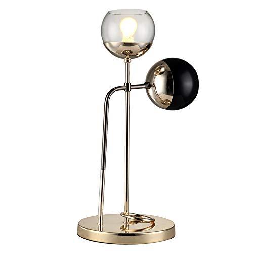 Nachtlampje van ijzer, Nordic LED dubbele kop verlichting glas tafellamp studentafel, modern, minimalistisch, woonkamer, bank, achtergrondverlichting, mode, kamer, goudkleurig, tafel licht